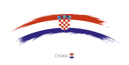 Flag of Croatia in rounded grunge brush stroke. Vector illustration. Ilustração