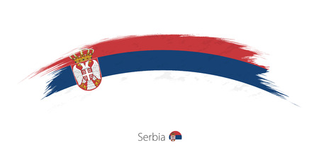 Flag of Serbia  in rounded grunge brush stroke. Vector illustration.