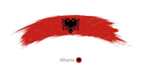 Flag of Albania in rounded grunge brush stroke. Vector illustration.
