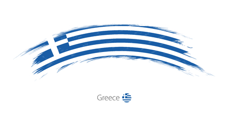 Flag of Greece in rounded grunge brush stroke. Vector illustration. Çizim