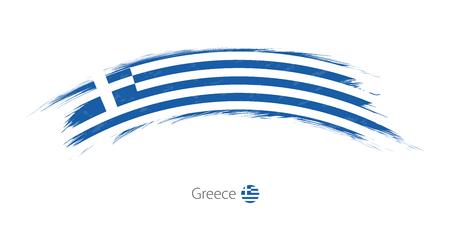 Flag of Greece in rounded grunge brush stroke. Vector illustration. Stock Illustratie