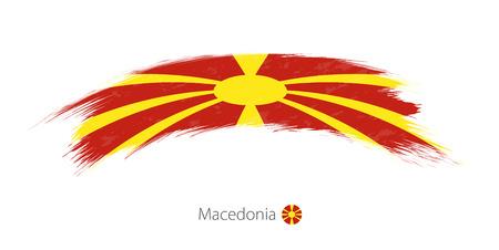 Flag of Macedonia in rounded grunge brush stroke. Vector illustration.