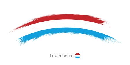 Flag of Luxembourg in rounded grunge brush stroke. Vector illustration. Illustration
