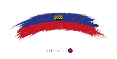 Flag of Liechtenstein in rounded grunge brush stroke. Vector illustration. Illustration