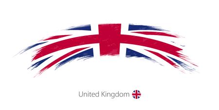 Flag of United Kingdom in rounded grunge brush stroke. Vector illustration. Illustration