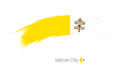 Flag of Vatican City in rounded grunge brush stroke. Vector illustration.