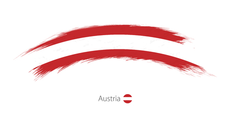 Flag of Austria in rounded grunge brush stroke
