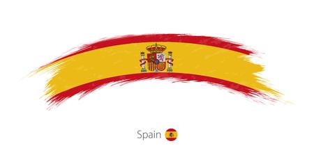 Flag of Spain in rounded grunge brush stroke