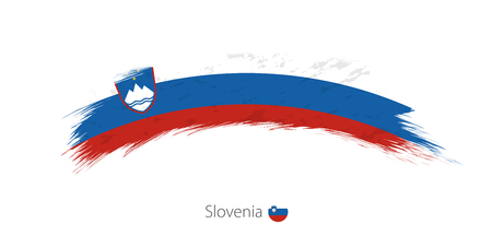 Flag of Slovenia in rounded grunge brush stroke Illustration