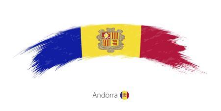 Flag of Andorra in rounded grunge brush stroke. Illustration