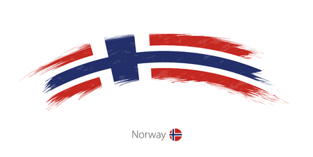 Flag of Norway in rounded grunge brush stroke. Vector illustration.