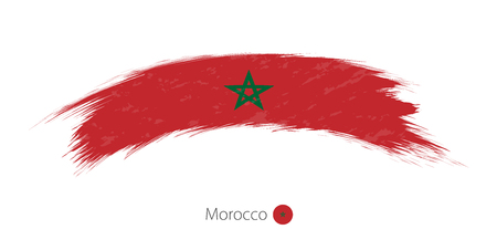 Flag of Morocco in rounded grunge brush stroke.