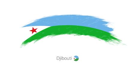 Flag of Djibouti in rounded grunge brush stroke