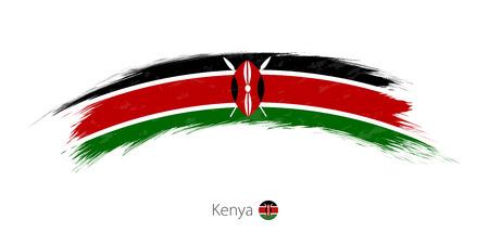 Vlag van Kenia in de afgeronde grunge penseelstreek