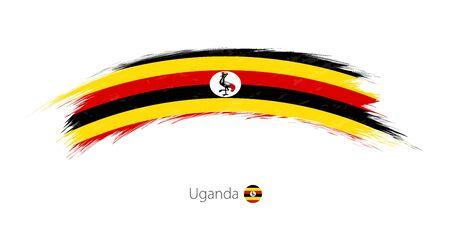 Flag of Uganda in rounded grunge brush stroke
