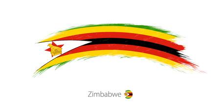 Flag of Zimbabwe in rounded grunge brush stroke