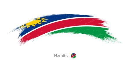 Vlag van Namibië in afgeronde grunge penseelstreek