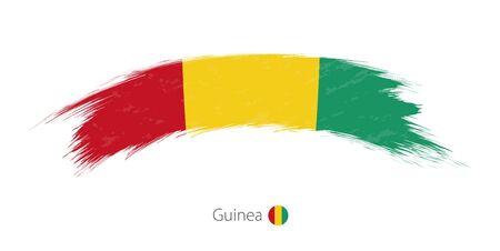Flag of Guinea in rounded grunge brush stroke. Vector illustration.