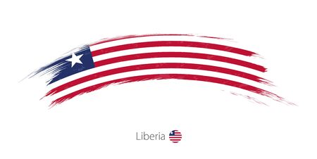 Flag of Liberia in rounded grunge brush stroke. Vector illustration.
