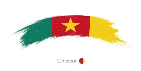 Flag of Cameroon in rounded grunge brush stroke. Vector illustration. Illustration