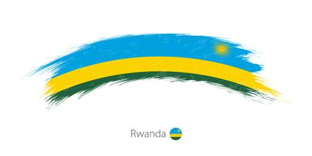 丸みを帯びたグランジ ブラシ ストロークでルワンダの旗