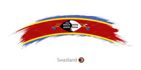 Flag of Swaziland in rounded grunge brush stroke Illustration