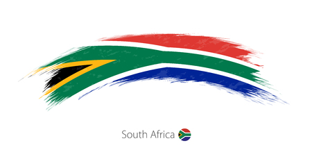 Flag of South Africa in rounded grunge brush stroke