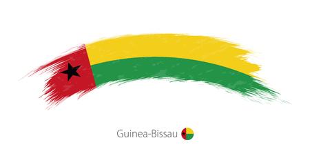 Flag of Guinea-Bissau in rounded grunge brush stroke. Vector illustration.