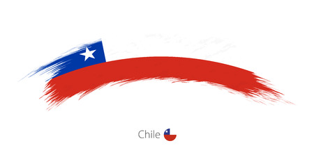 bandera chilena: Bandera de Chile en el trazo de pincel redondeado grunge. Ilustración vectorial