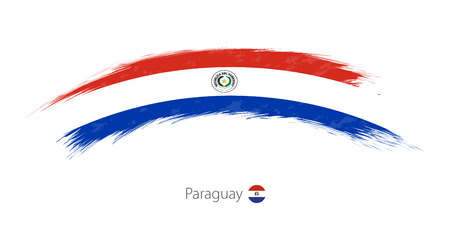 Flag of Paraguay in rounded grunge brush stroke. Vector illustration.