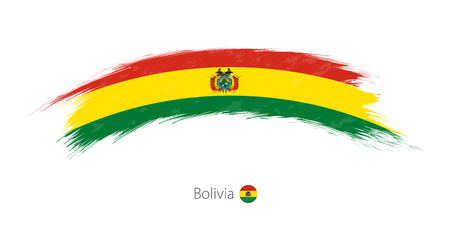 Flag of Bolivia in rounded grunge brush stroke. Vector illustration.