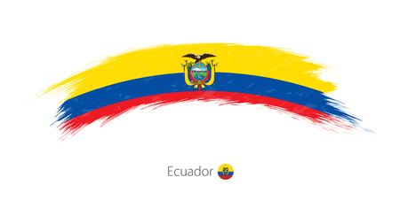 Flag of Ecuador in rounded grunge brush stroke. Vector illustration.