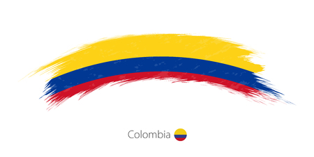 Flag of Colombia in rounded grunge brush stroke. Vector illustration.  イラスト・ベクター素材