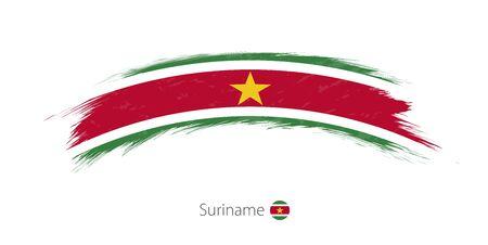 Flag of Suriname in rounded grunge brush stroke. Vector illustration.