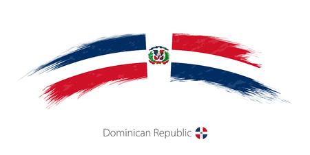 Flag of Dominican Republic in rounded grunge brush stroke. Vector illustration. Çizim