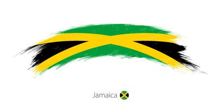 Flag of Jamaica in rounded grunge brush stroke. Vector illustration. Vettoriali
