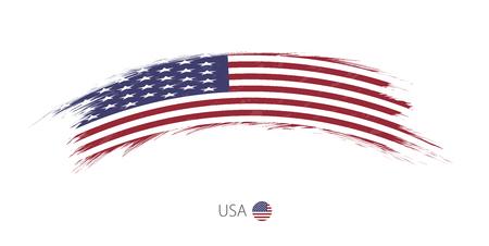Flag of USA in rounded grunge brush stroke. Vector illustration.