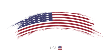 Flag of USA in rounded grunge brush stroke. Vector illustration.