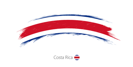 Flag of Costa Rica in rounded grunge brush stroke design illustration.