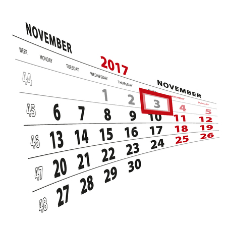3 November highlighted on calendar 2017. Week starts from Monday. Vector Illustration.