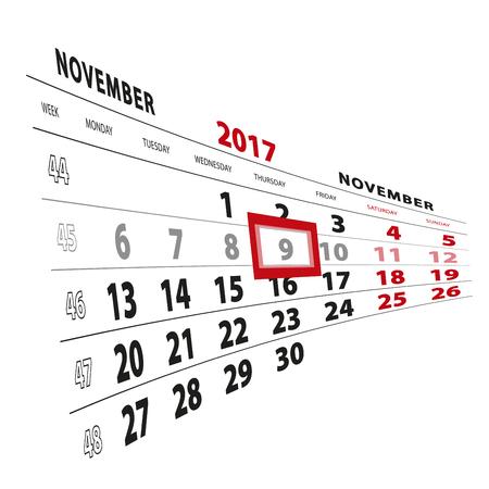 9 November highlighted on calendar 2017. Week starts from Monday. Vector Illustration. Illustration
