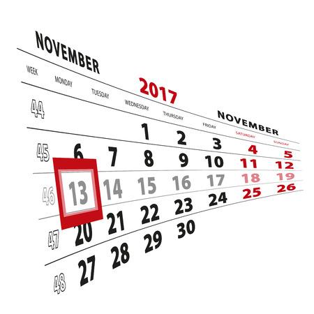13 November highlighted on calendar 2017. Week starts from Monday. Vector Illustration.