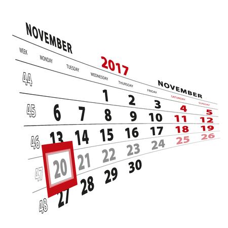 20 November highlighted on calendar 2017. Week starts from Monday. Vector Illustration.