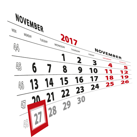 27 November highlighted on calendar 2017. Week starts from Monday. Vector Illustration. Stock Vector - 88941489
