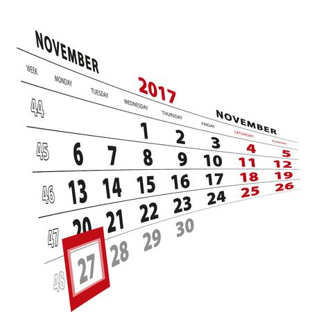 27 November highlighted on calendar 2017. Week starts from Monday. Vector Illustration.