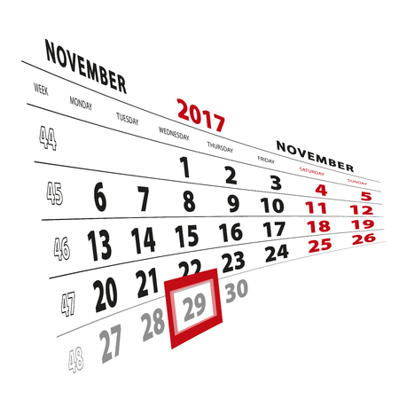 29 November highlighted on calendar 2017. Week starts from Monday. Vector Illustration.