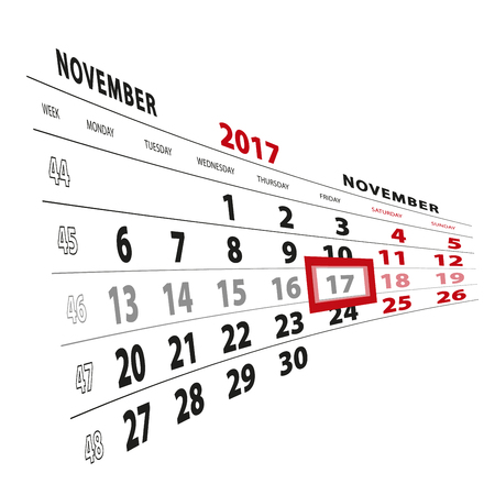 November 17 highlighted on calendar 2017.