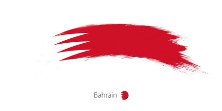 Flag of Bahrain in rounded grunge brush stroke. Vector illustration.