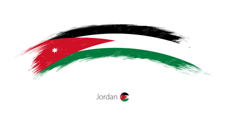 Flag of Jordan in rounded grunge brush stroke. Vector illustration.