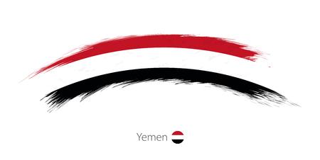 Flag of Yemen in rounded grunge brush stroke. Vector illustration.